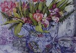 Pink and White Tulips, Orchids and Blue Antique China (w/c) Fine Art Print by Joan Thewsey
