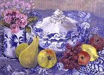 The Blue and White Tureen with Fruit Poster Art Print by Sylvia Paul