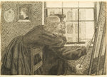 G P Boyce with Fanny Cornforth at Rossetti's Studio, Chatham Place, c.1858 (ink on paper) Fine Art Print by Hermann Kauffmann