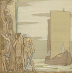 The Landing of St Patrick in Ireland, c.1912 (tempera on wood) Wall Art & Canvas Prints by Japanese School