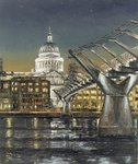 St Paul's and the Millennium Bridge, 2004 (oil on canvas) Fine Art Print by Anonymous