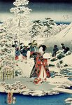 Maids in a snow-covered garden, 1859 Poster Art Print by Utagawa Sadanobu