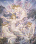 Daughters of the Mist (oil on canvas) Postcards, Greetings Cards, Art Prints, Canvas, Framed Pictures, T-shirts & Wall Art by Evelyn De Morgan