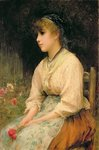 A Venetian Flower Girl Poster Art Print by Frederic Leighton