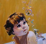 Bubble Bath (oil on board) Wall Art & Canvas Prints by Elmer Boyd Smith