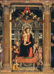 Virgin and Child with Angels, central panel from the Altarpiece of St. Zeno of Verona, 1456-60 (oil on panel) (detail of 214237) Fine Art Print by Andrea Mantegna