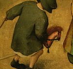Children's Games, detail of bottom section showing a child and a hobby-horse, 1560 (oil on panel) (detail of 68945) Fine Art Print by Pedro Nunez de Villavicenzio
