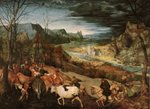 The Return of the Herd (Autumn) 1565 (oil on panel) Wall Art & Canvas Prints by Mathias Gabriel Lory