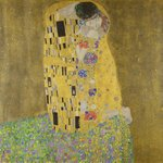 The Kiss, 1907-08 (oil on canvas) Postcards, Greetings Cards, Art Prints, Canvas, Framed Pictures, T-shirts & Wall Art by Gustav Klimt