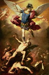 Archangel Michael overthrows the rebel angel, c.1660-65 Wall Art & Canvas Prints by Gustave Dore