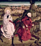 The Schotten altarpiece depicting the Flight into Egypt, 1475 Fine Art Print by Gerard David