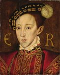 Portrait of Edward VI (1537-53) (oil on panel) Wall Art & Canvas Prints by French School