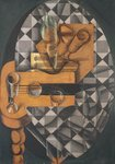 Guitar, Bottle, and Glass, 1914 (pasted papers, gouache & crayon on canvas) Wall Art & Canvas Prints by Juan Gris