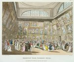 Exhibition Room, Somerset House, from 'Ackermann's Microcosm of London', 1808 (coloured aquatint) Wall Art & Canvas Prints by T. Rowlandson