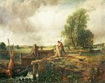 A Boat Passing a Lock (oil on canvas) Fine Art Print by Johan Christian Dahl
