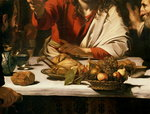 The Supper at Emmaus, 1601 (oil and tempera on canvas) (detail of 928) Postcards, Greetings Cards, Art Prints, Canvas, Framed Pictures, T-shirts & Wall Art by Clive Uptton