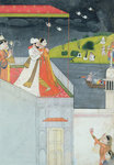 Lovers on a Terrace, c.1780-1800 (gouache on paper) Fine Art Print by French School