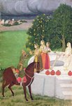 A Prince begging water from women at a well, Mughal, c.1720 (gouache on paper) Wall Art & Canvas Prints by Shanti Panchal