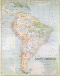 Map of South America (colour litho) Postcards, Greetings Cards, Art Prints, Canvas, Framed Pictures, T-shirts & Wall Art by Guillaume Delisle