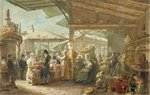Old Covent Garden Market, 1825 (w/c on paper) Postcards, Greetings Cards, Art Prints, Canvas, Framed Pictures, T-shirts & Wall Art by Anonymous