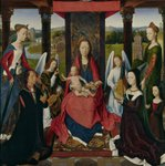 The Virgin and Child with Saints and Donors, a panel from 'The Donne Triptych' c.1478 (oil on oak) Wall Art & Canvas Prints by Jan van Eyck