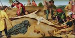 Christ Nailed to the Cross, 1481 (oil on oak) Wall Art & Canvas Prints by Albrecht Durer or Duerer