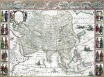 Asia noviter delineata, 1617 (colour engraving) Wall Art & Canvas Prints by Guillaume Delisle