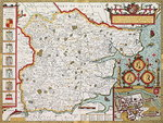 Essex, engraved by Jodocus Hondius (1563-1612) from John Speed's Theatre of the Empire of Great Britain, pub. by John Sudbury and George Humble, 1611-12 (hand coloured copper engraving) Fine Art Print by John Speed