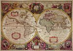 A New Land and Water Map of the Entire Earth, 1630 (coloured engraving) Wall Art & Canvas Prints by French School