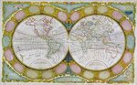 A New and Correct Map of the World, 1770-97 (coloured engraving) Wall Art & Canvas Prints by French School