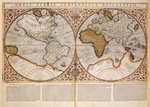 Double Hemisphere World Map, 1587 (coloured engraving) Wall Art & Canvas Prints by Nicolaes the Elder Visscher