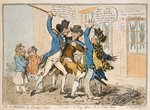 The Caneing in Conduit Street, published by Hannah Humphrey, 1796 (hand-coloured etching) Fine Art Print by James Gillray