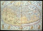 Map of the world, based on descriptions and co-ordinates given in 'Geographia', first published in Ulm, Germany (hand coloured engraving) Wall Art & Canvas Prints by French School