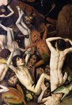 Hell, detail of a demon hitting the damned, c.1450 Fine Art Print by Rogier van der Weyden