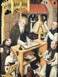 Interior of a Scriptorium, School of Segovia Fine Art Print by Niklaus Manuel