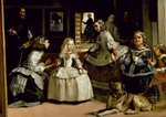 Las Meninas, detail of the lower half depicting the family of Philip IV (1605-65) of Spain, 1656 (oil on canvas) (detail of 405) Wall Art & Canvas Prints by Herbert Warhurst