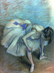 Seated Dancer, c.1881-83 (pastel on paper) Postcards, Greetings Cards, Art Prints, Canvas, Framed Pictures, T-shirts & Wall Art by Edgar Degas