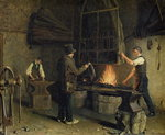 Interior of the Forge, 1837 Fine Art Print by German School