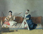 Monsieur Levett and Mademoiselle Helene Glavany in Turkish Costumes (oil on canvas) Wall Art & Canvas Prints by John Young