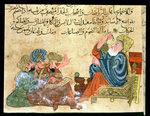 MS Ahmed III 3206 Aristotle teaching, illustration from 'Kitab Mukhtar al-Hikam wa-Mahasin al-Kilam' by Al-Mubashir (pen & ink and gouache on paper) Wall Art & Canvas Prints by Turkish School