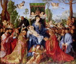 The Feast of the Rose Garlands, 1506 (oil on panel) Wall Art & Canvas Prints by Master of the Pala Sforzesca