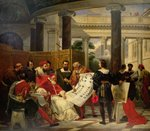 Pope Julius II ordering Bramante, Michelangelo and Raphael to construct the Vatican and St. Peter's, 1827 Fine Art Print by Francois Clouet