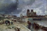 Notre-Dame from the Quai de la Tournelle, 1852 Fine Art Print by Jean-Baptiste Oudry