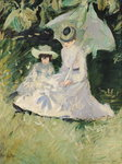 Madame Helleu and her Daughter at the Chateau of Boudran (oil on canvas) Fine Art Print by Pierre Auguste Renoir
