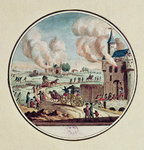 The Pillage and Destruction of Chateaux and the Emigration of Princes and Courtiers in July 1789 (colour engraving) Wall Art & Canvas Prints by Lesueur Brothers