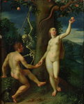 Adam and Eve (oil on panel) Wall Art & Canvas Prints by Hubert Eyck