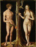 Adam and Eve (oil on panel) Wall Art & Canvas Prints by Albrecht Dürer or Duerer