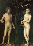 Adam and Eve (oil on panel) Postcards, Greetings Cards, Art Prints, Canvas, Framed Pictures, T-shirts & Wall Art by Cornelis Cornelisz. van Haarlem