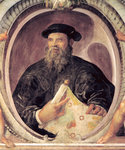 Ferdinand Magellan (c.1480-1521) from the 'Sala del Mappamondo' (Hall of the World Maps) (fresco) Fine Art Print by Pietro Perugino