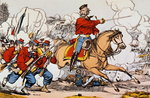 Giuseppe Garibaldi (1807-82) and his Volunteers Fighting the Prussians (coloured engraving) Wall Art & Canvas Prints by Italian School